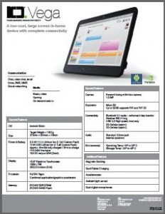Picture of the Vega Tablet PDF specifications document