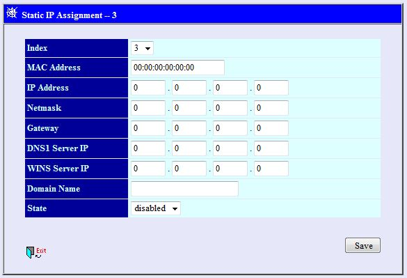 A screenshot of the Static IP assignment window on the DVG-1120M