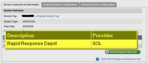 "pic showing Dell's rapid response depot provider is called ""SOL"""